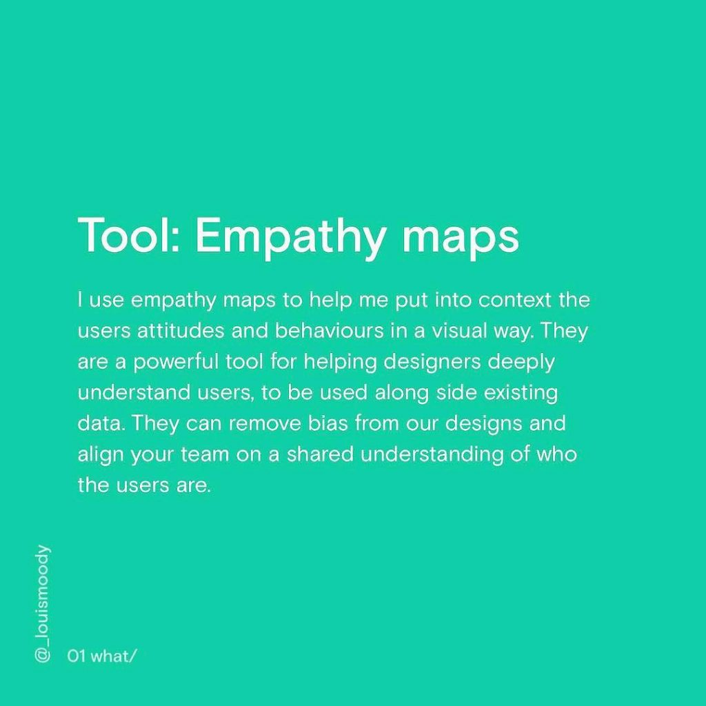 Tool: Empathy maps. I use empathy maps to help me put into context the users attitudes and behaviours in a visual way. They are a powerful tool for helping designers deeply understand users, to be used along side existing data. They can remove bias from our designs and align your team on a shared understanding of who the users are.