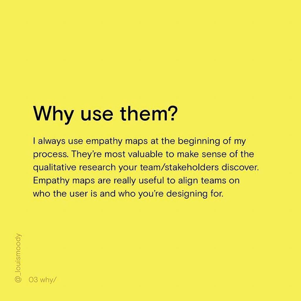 Why use them? I always use empathy maps at the beginning of my process. They're most valuable to make sense of the qualitative research your team/stakeholders discover. Empathy maps are really useful to align teams on who the user is and who you're designing for.