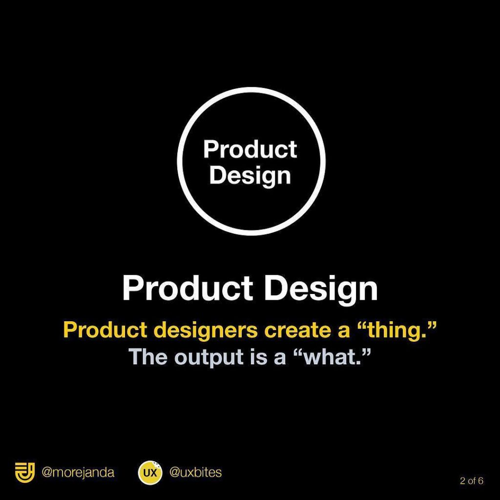 """Product design: Product designers create a """"thing."""" The output is a """"what"""".⠀"""