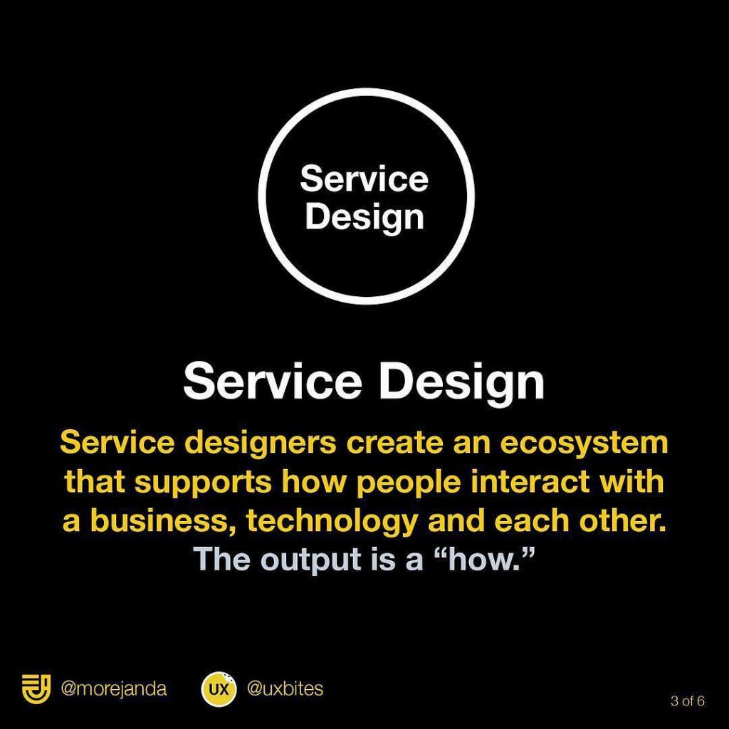 """Service design: Service designers create an ecosystem that supports how people interact with a business, technology and each other. The output is a """"how""""."""