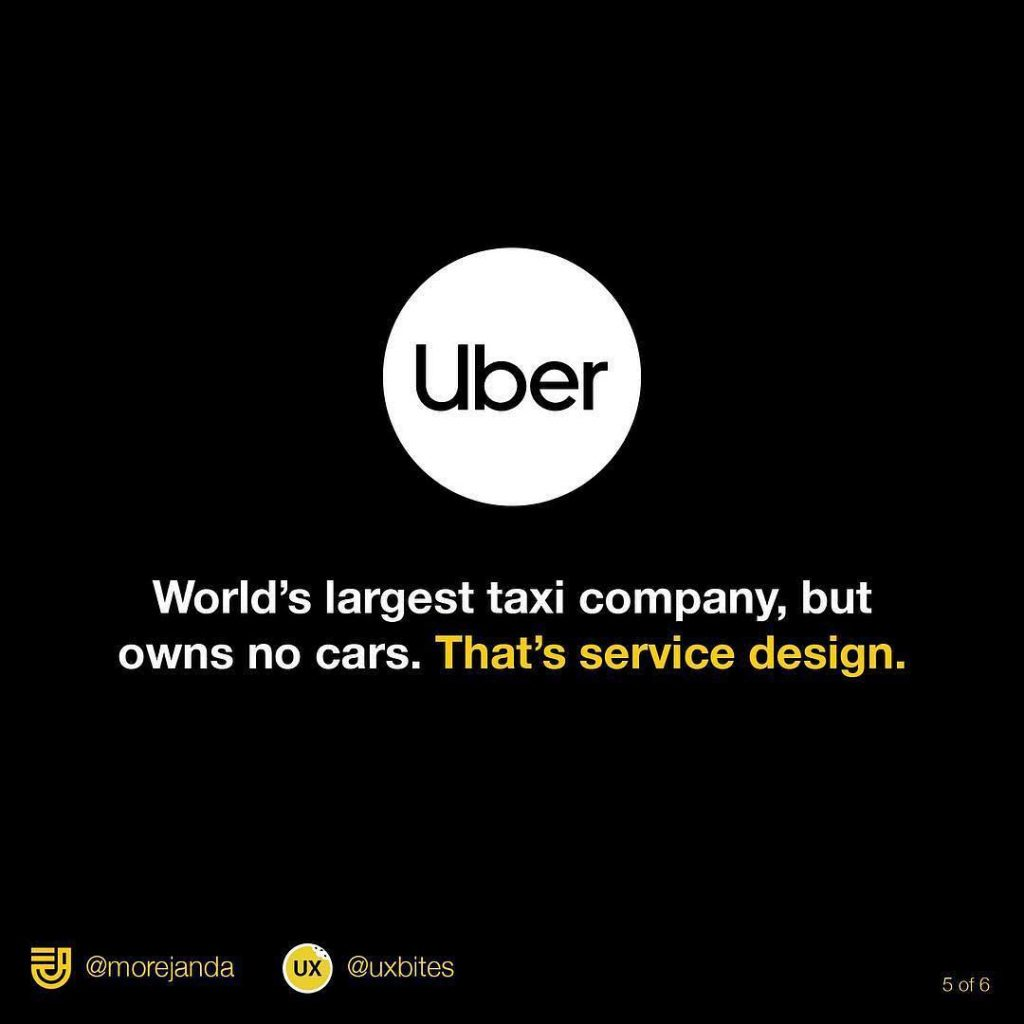 Uber. World's largest taxi company, but owns no cars.That's service design.