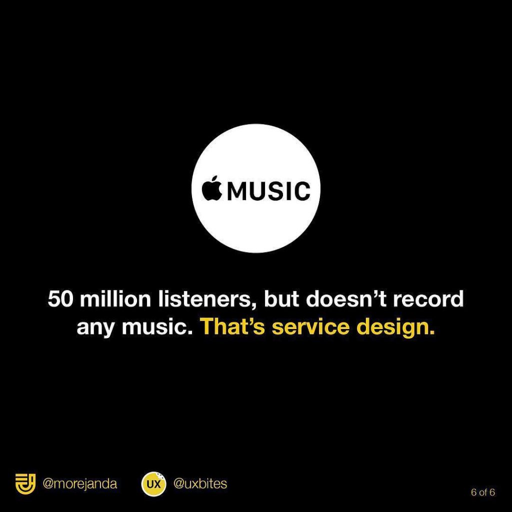 Apple Music. 50 million listeners, but doesn't record any music. That's service design.