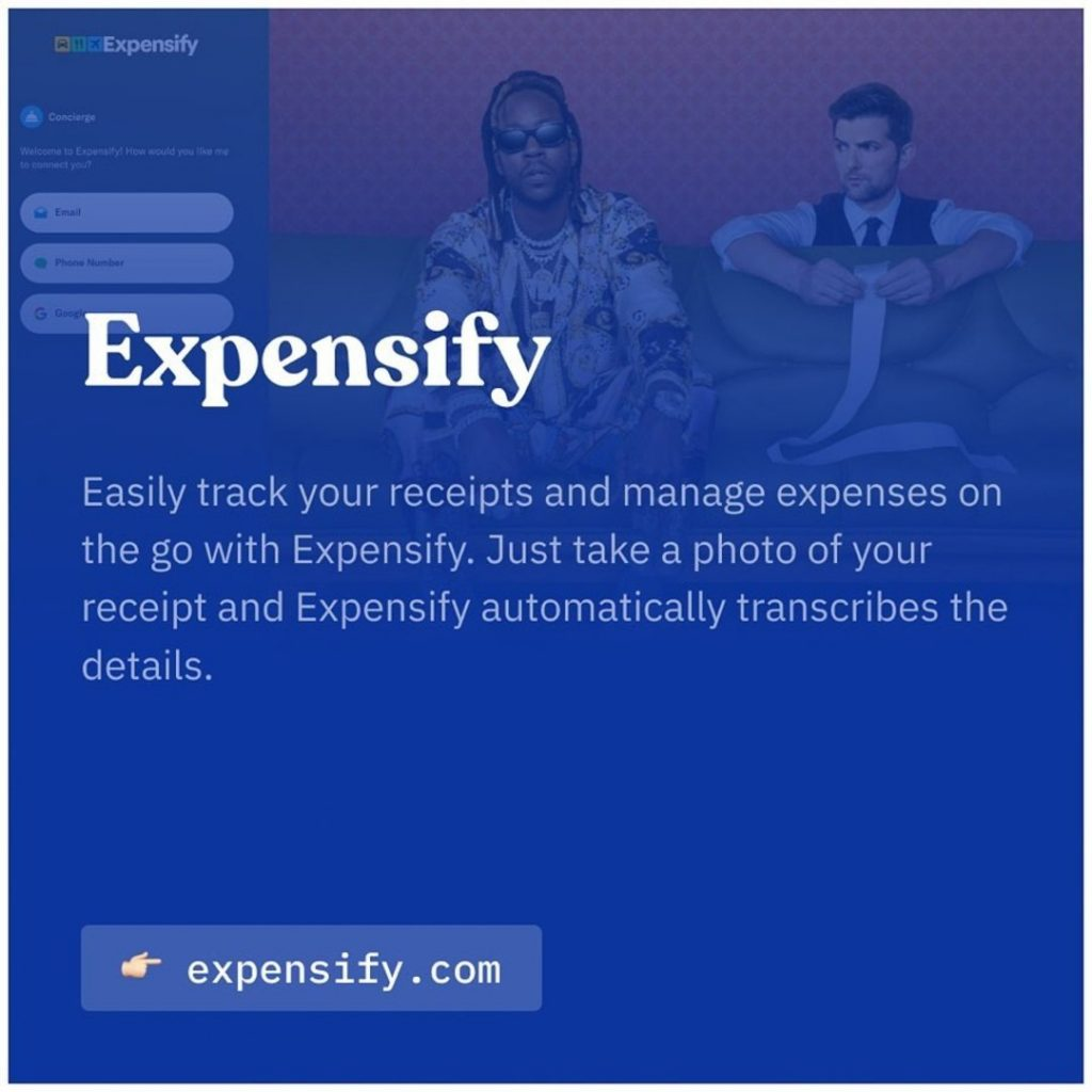 Expensify. Easily track your receipts and manage expenses on the go with Expensify automatically transcribes the details.