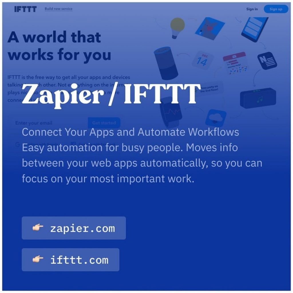 Zapier/IFTTT. Connect your apps and automate workflows easy automation for busy people. Moves info between you web apps automatically, so you can focus on your most important work.