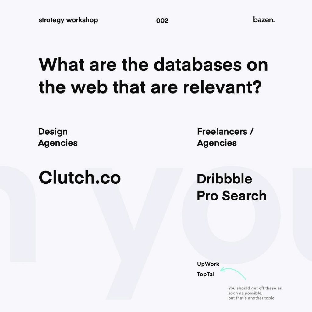 What are the databases on the web relevant? Clutch.co / Dribbble Pro Search