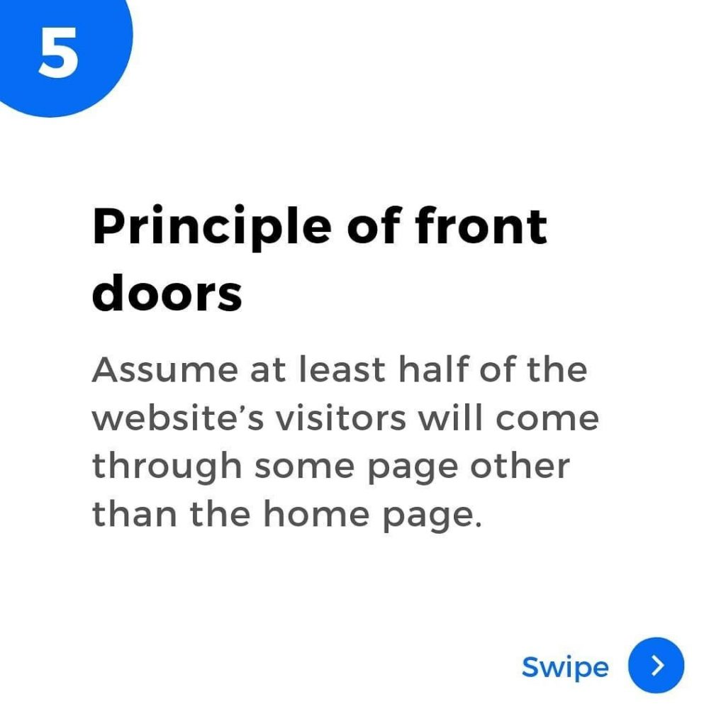 Principle of front doors. Assume at least half of the website's visitors will come through some page other than the home page.