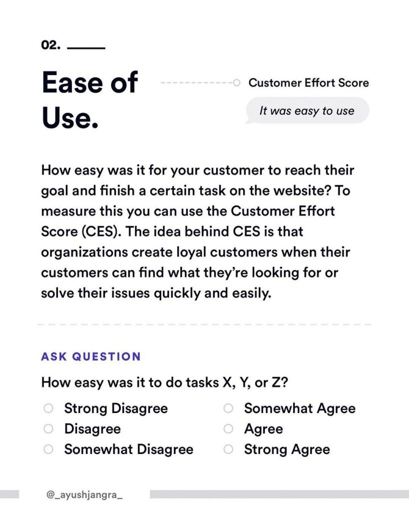 2. Ease of Use. How easy was it for your customer to reach their goal and finish a certain task on the website? To measure this you can use the Customer Effort Score (CES). The idea behind CES is that organization create loyal customers when their customers can find what they're looking for or solve their issues quickly and easily.  Ask question. How easy was it to do tasks X,Y or Z? - Strong Disagree - Disagree - Somewhat Disagree - Somewhat Agree - Agree - Strong Agree