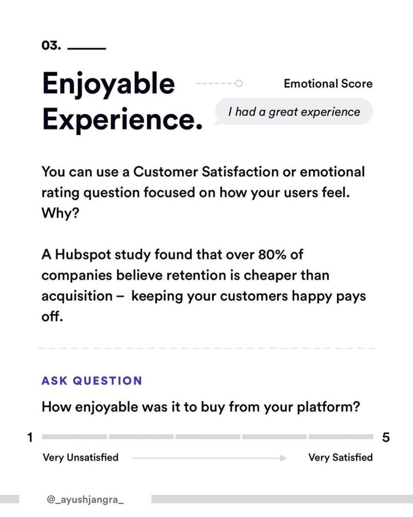 3. Enjoyable Experience. You can use a Customer Satisfaction or emotional rating question focused on how your users feel. Why?  A Hubspot study found that over 80% of companies believe retention is cheaper than acquisition - keeping your customers happy pays off.  Ask question.  How enjoyable was it to buy from your platform?