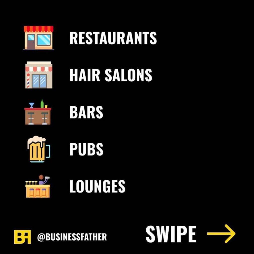 - Restaurants - Hair Salons - Bars - Pubs - Lounges