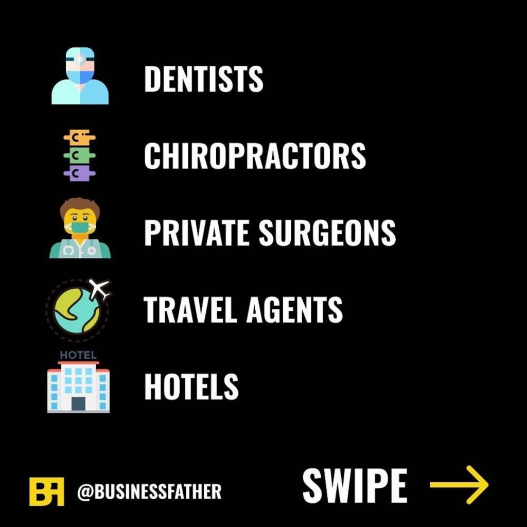 - Dentists - Chiropractors - Private Surgeons - Travel Agents - Hotels