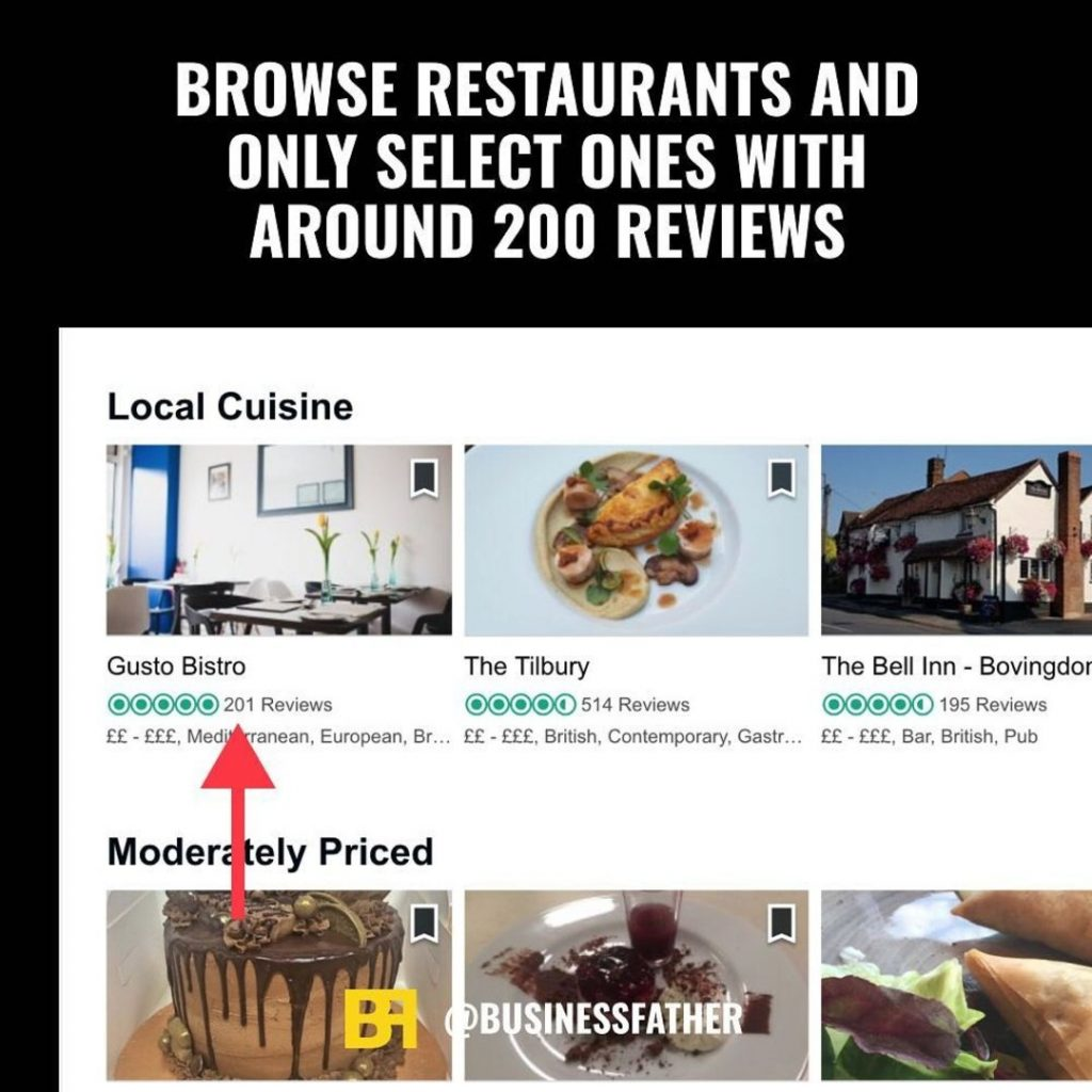 Browse restaurants and only select ones with around 200 reviews.