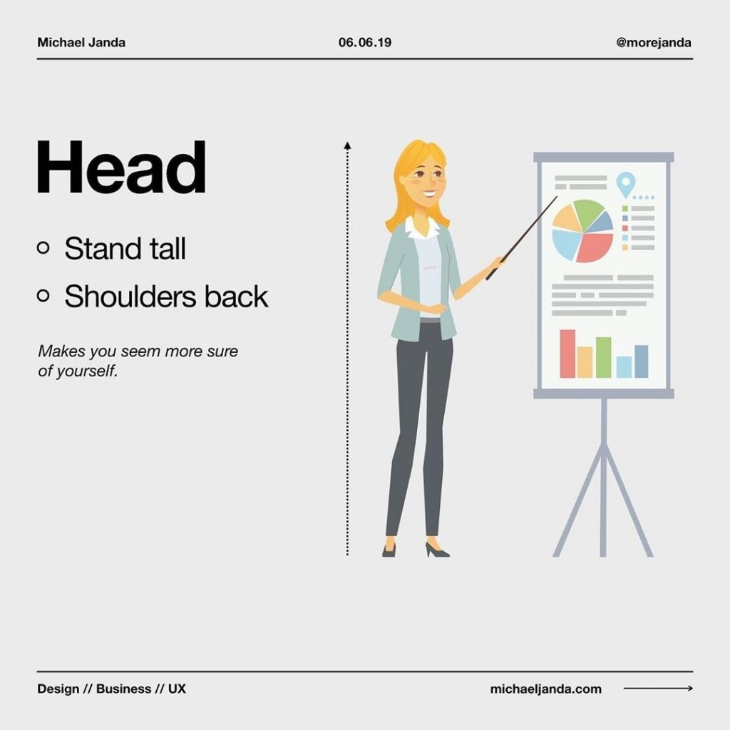 Head  - Stand tall - Shoulders back  Makes you seem more sure of yourself.