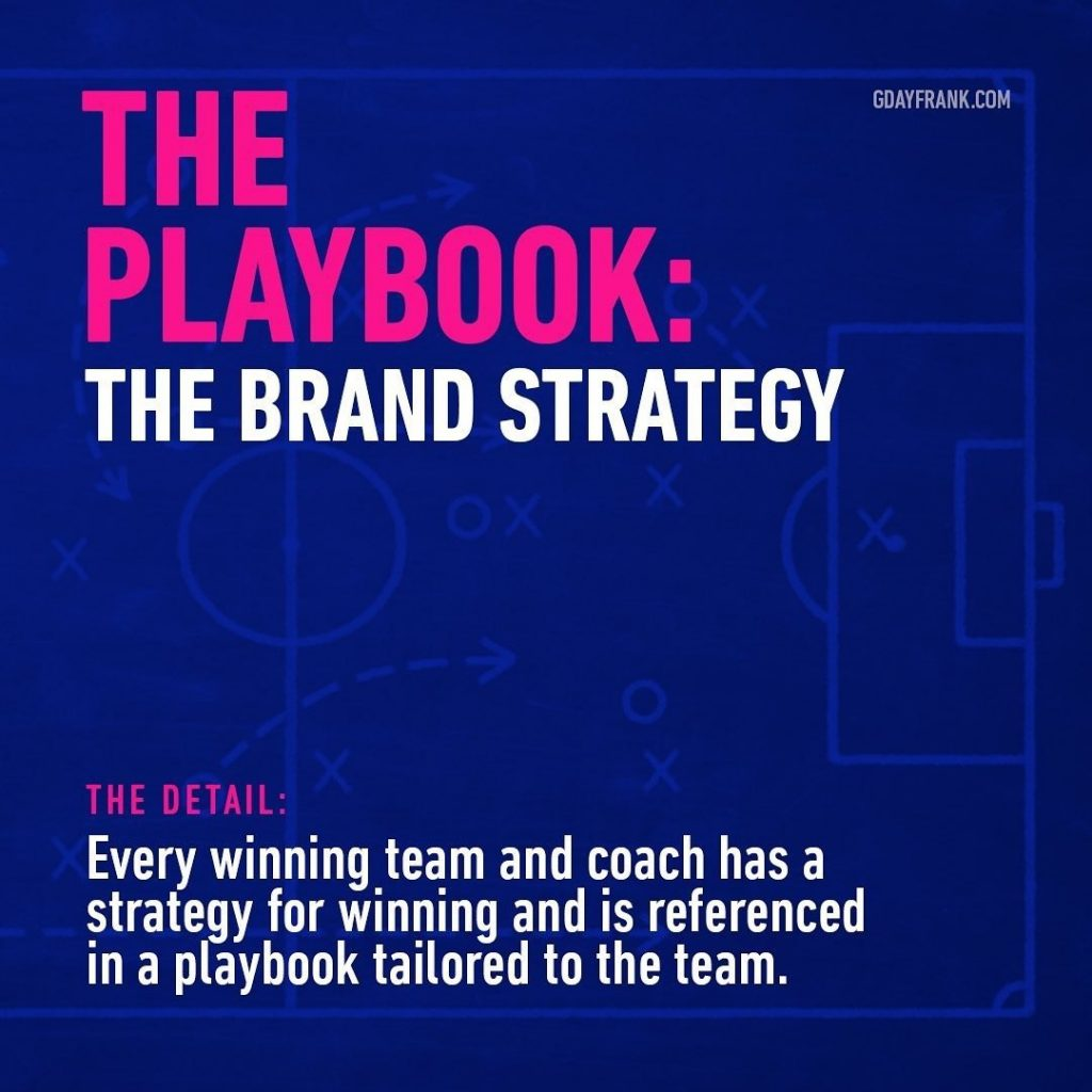 Playbook: the brand strategy  The Detail: Even winning team and coach has a strategy for winning and is referenced in a playbook tailored to the team.