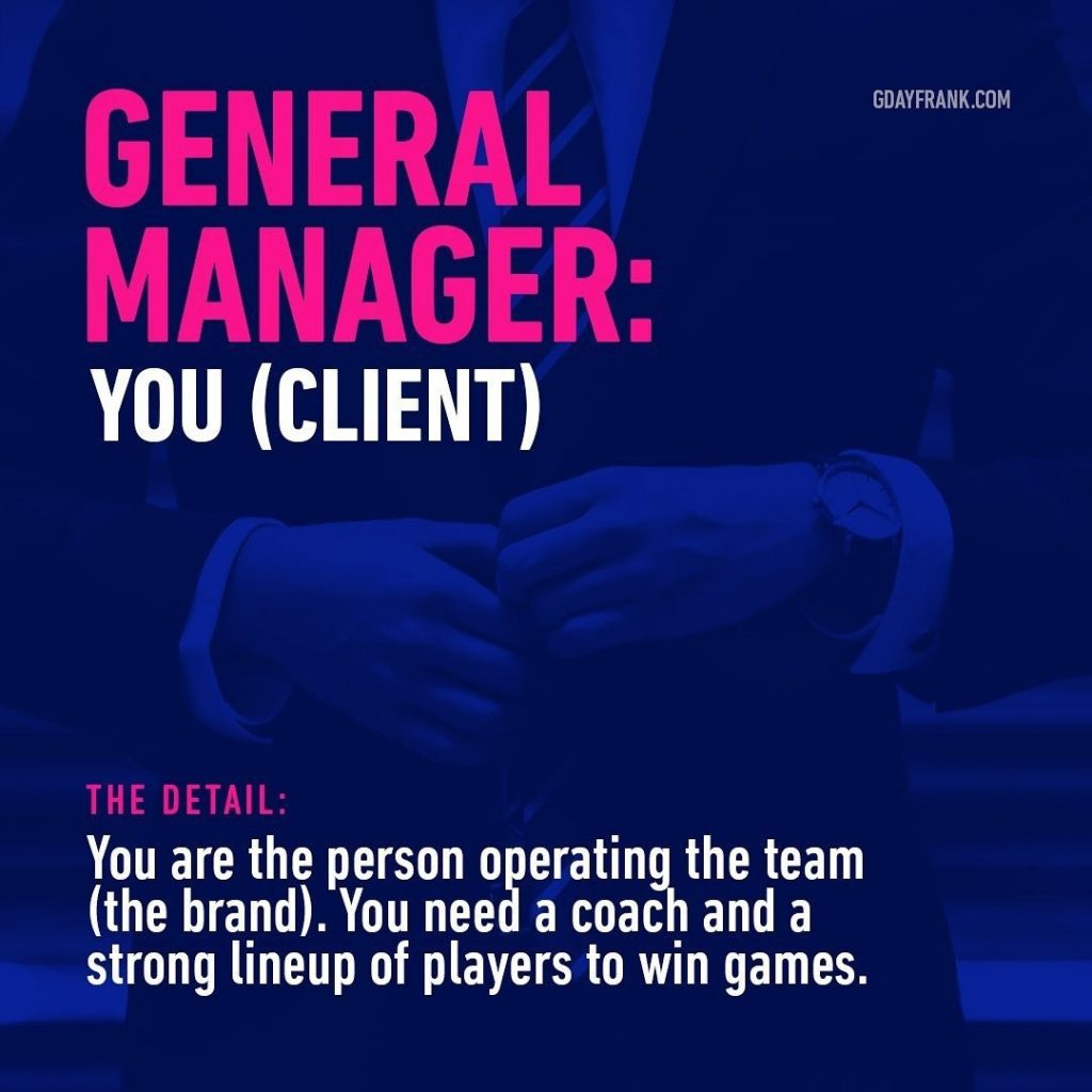 General Manager: You (Client)  The Detail: You are the person operating the team (the brand). You need a coach and a strong lineup of players to win games.