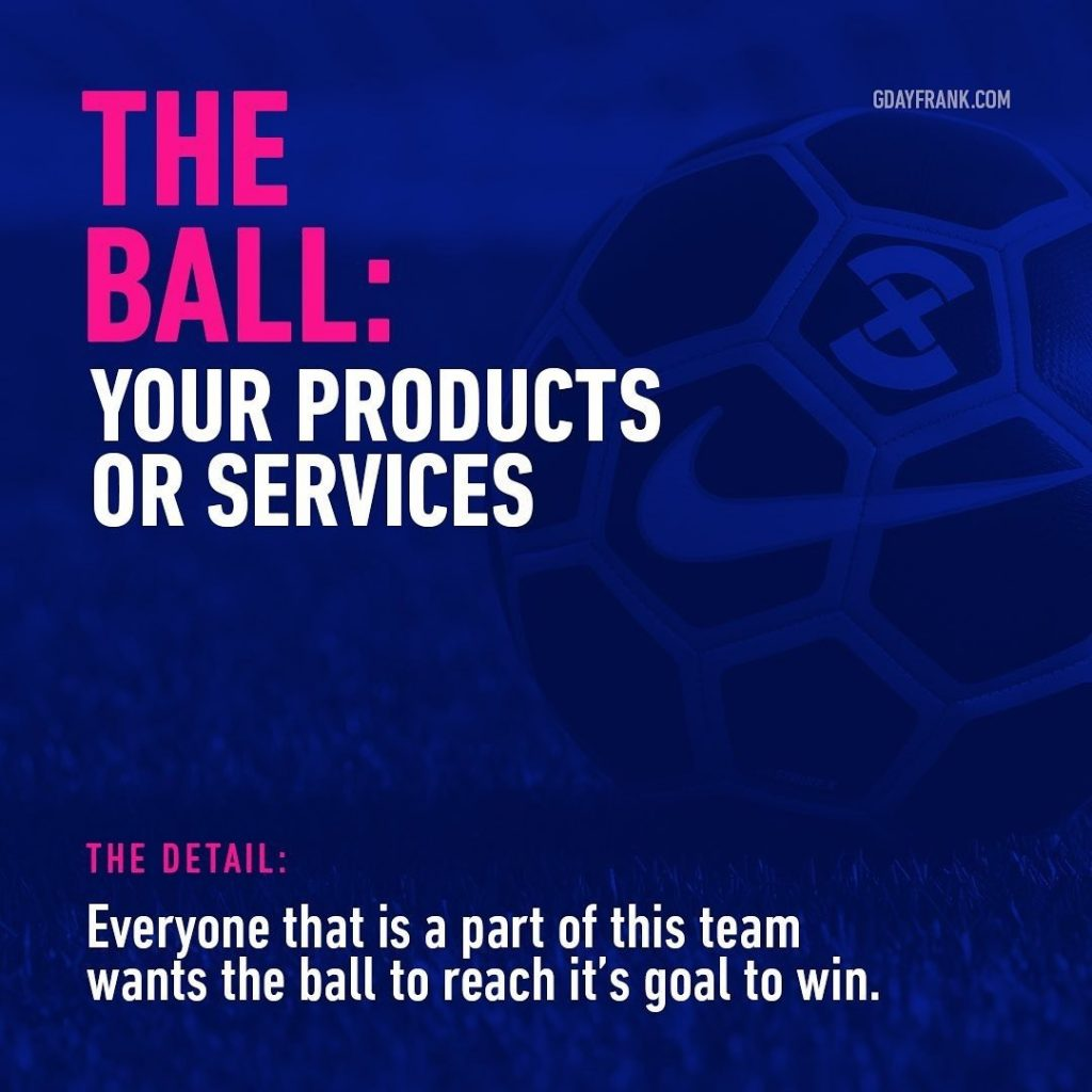 The Ball: your products or services  The Detail: Everyone that is a part of this team wants the ball to reach it's goal to win.