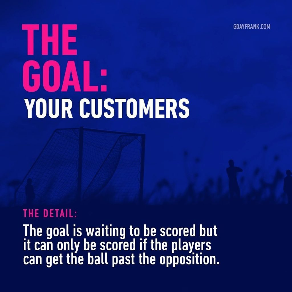 The Goal: Your Customers  The Detail: The goal is waiting to be scored but it can only be scored if the players can get the ball past the opposition.