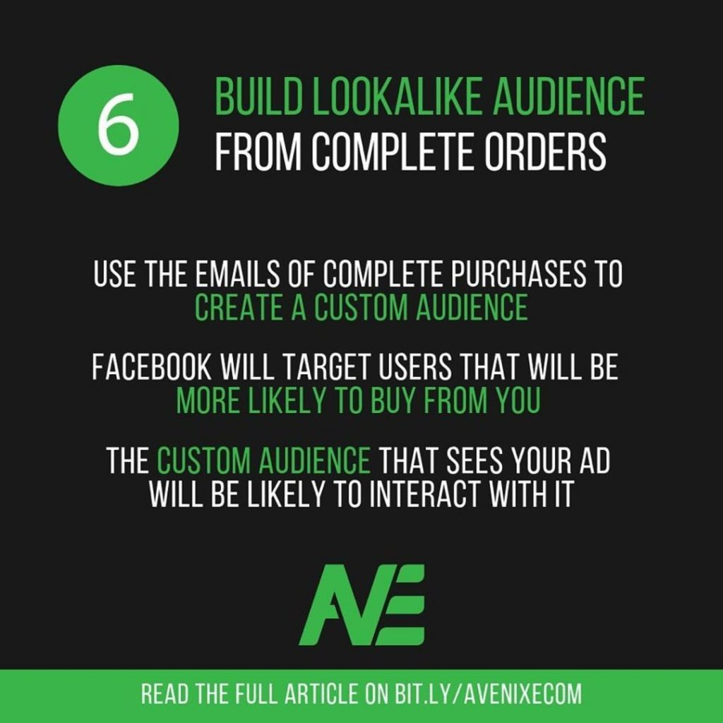 6. Build lookalike audience from complete orders.  Use the emails of complete purchases to create a custom audience.  Facebook will target users that will be more likely to buy from you.  The custom audience that sees your ad will be likely to interact with it.