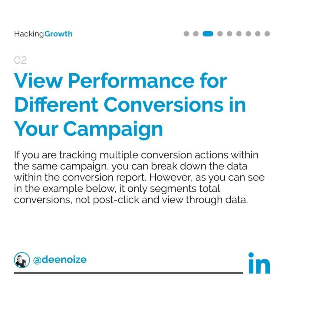 2. View Performance for Different Conversions in Your Campaign  If you are tracking multiple conversion actions within the same campaign, you can break down the data within the conversion report. However, as you can see in the example below, it only segment total conversions, not post-click and view through data.