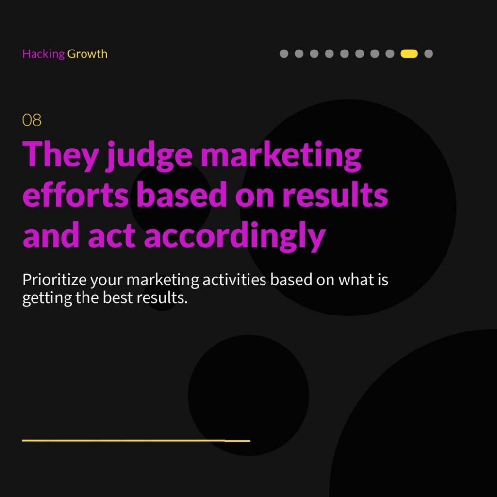 8. They judge marketing efforts based on results and act accordingly  Prioritize your marketing activities based on what is getting the best results.
