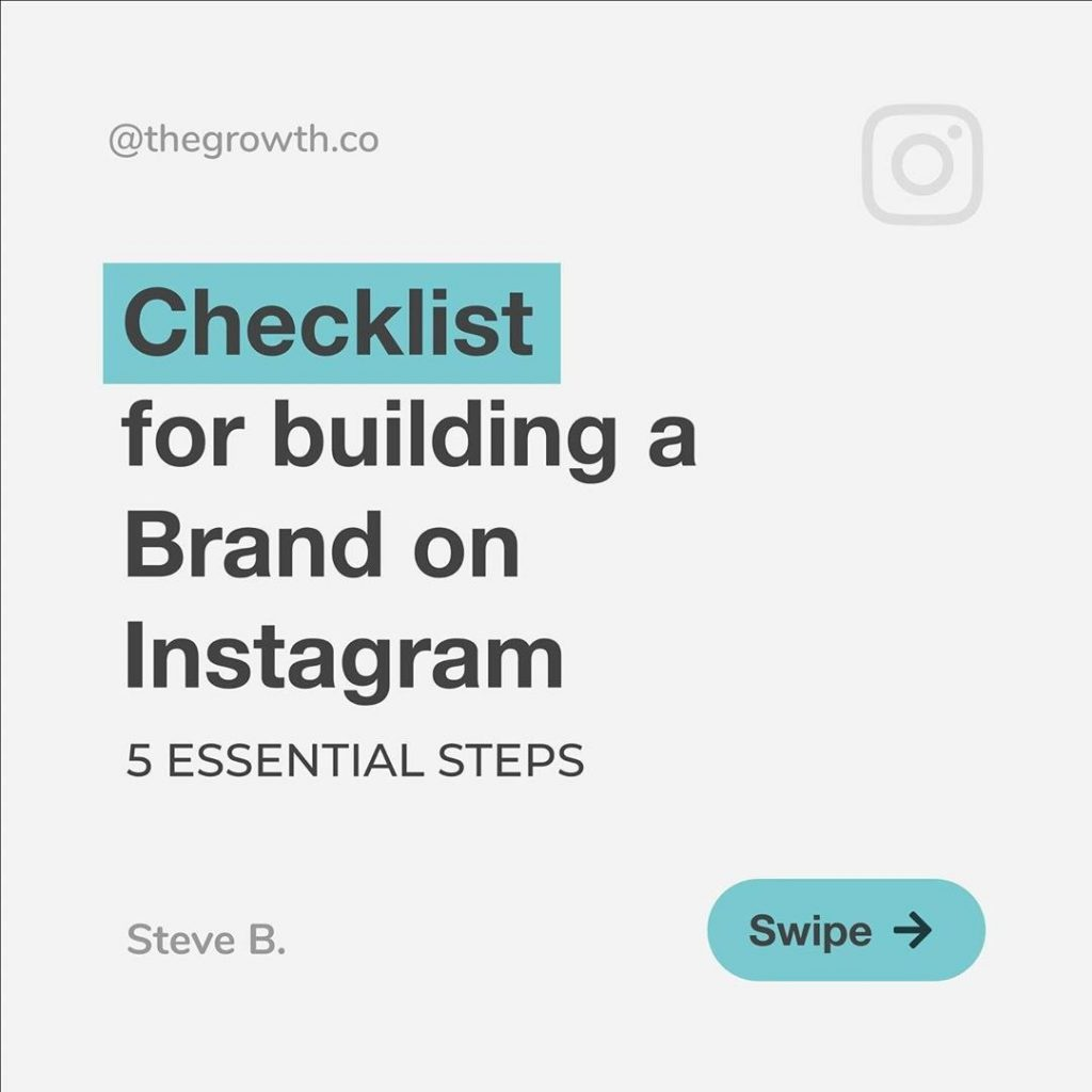 Checklist for building a Brand on Instagram