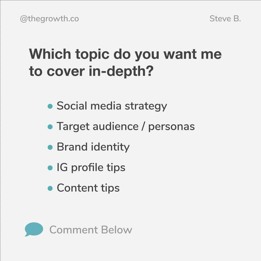 Which topic do you want me to cover in-depth?  - Social media strategy - Target audience / personas - Brand identity - IG profile tips - Content tips
