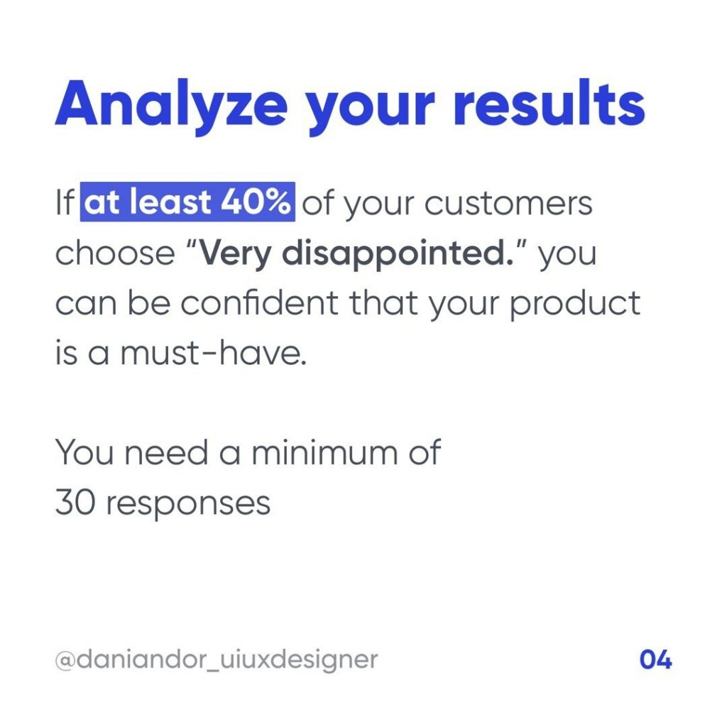 """Analyze your results  If at least 40% of your customers choose """"Very disappointed"""" you can be confident that your product is a must-have.  You need a minimum of 30 responses."""