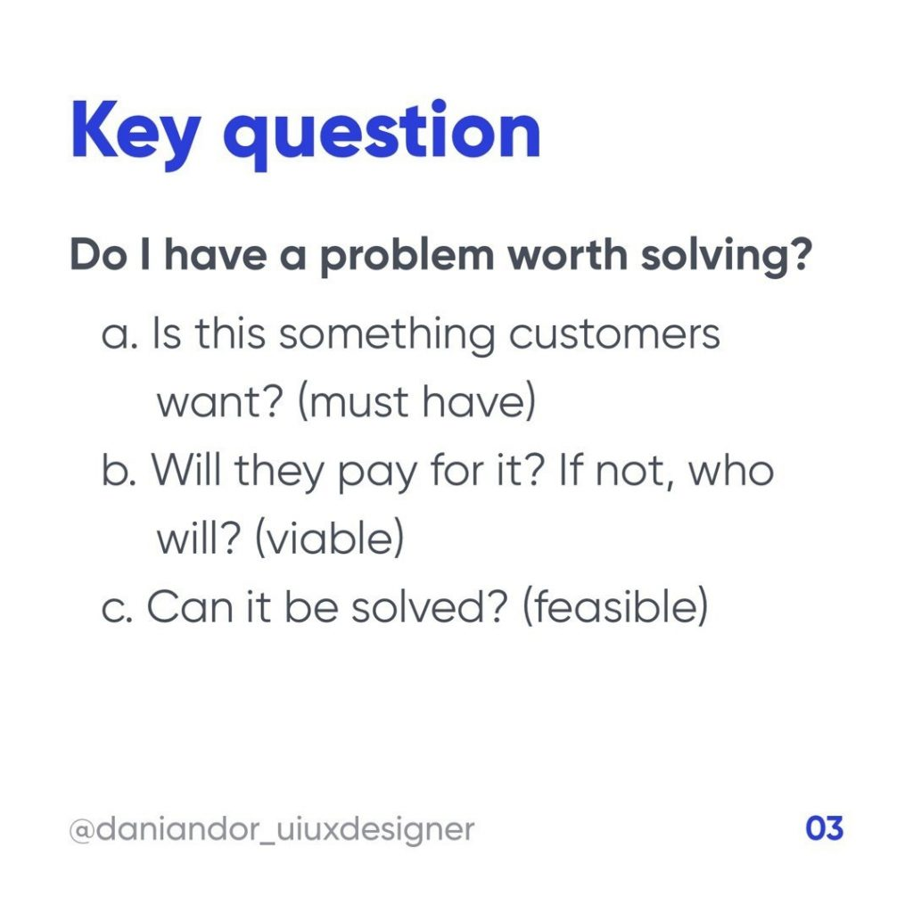 Key question:  Do I have problem worth solving?  a. Is this something customers want? (must have) b. Will they pay for it? If not, who will? (viable) c. Can it be solved? (feasible)