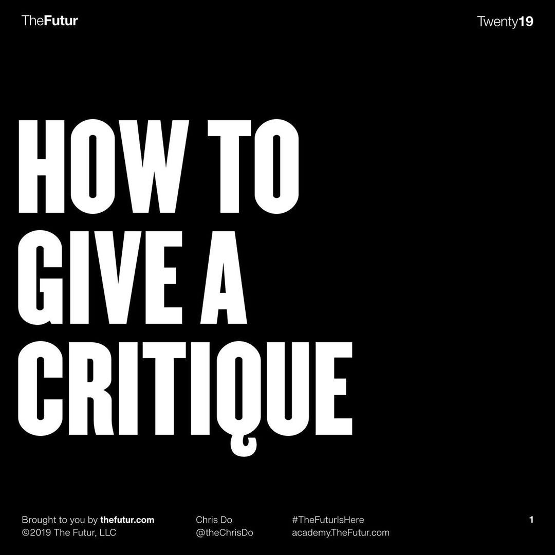 How to Give a Critique