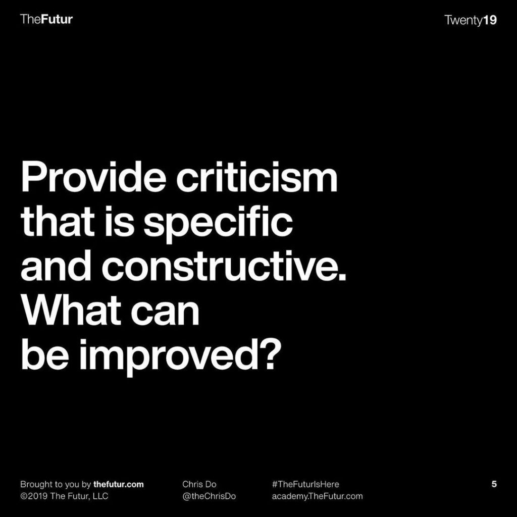 Provide criticism that is specific and constructive. What can be improved?