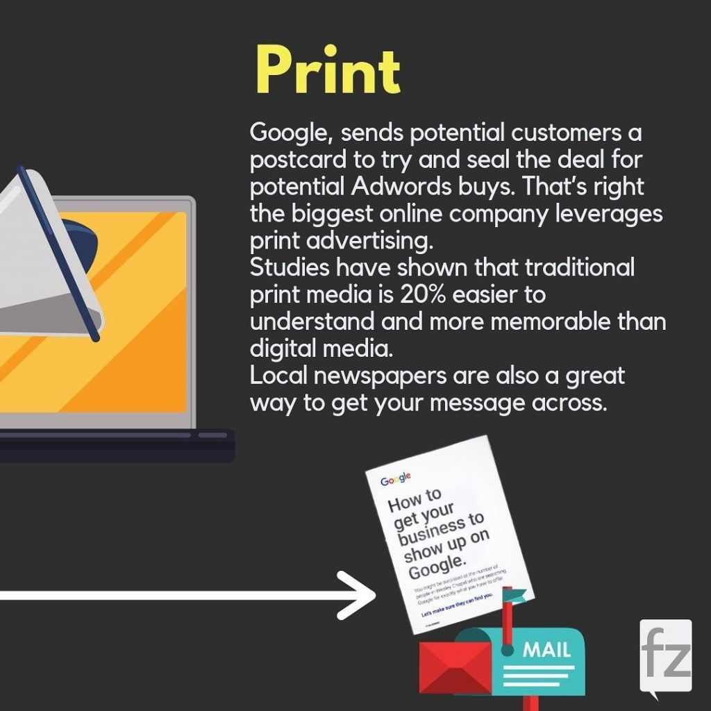 Print  Google, sends potential customers a postcard to try and seal the deal for potential Adwords buys. That's right the biggest online company leverages print advertising. Studies have shown that traditional print media is 20% easier to understand and more memorable than digital media. Local newspapers are also a great way to get your message across.