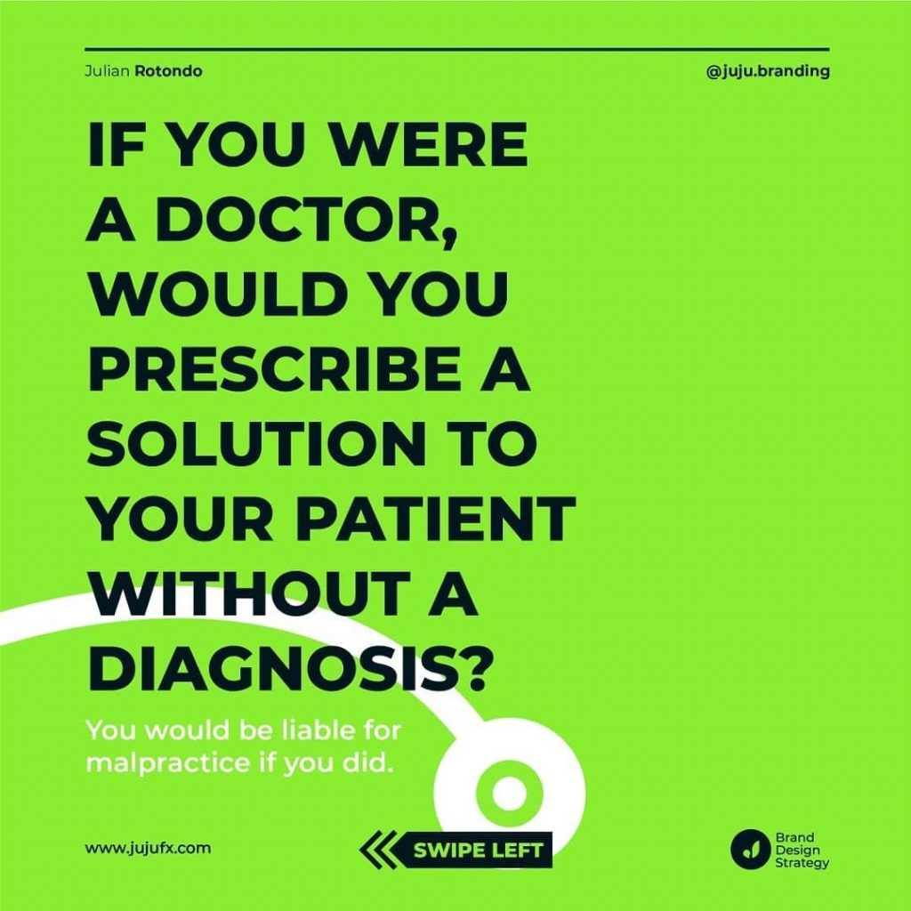 If you were a doctor, would you prescribe a solution to your patient without a diagnosis?  You would be liable for malpractice if you did.