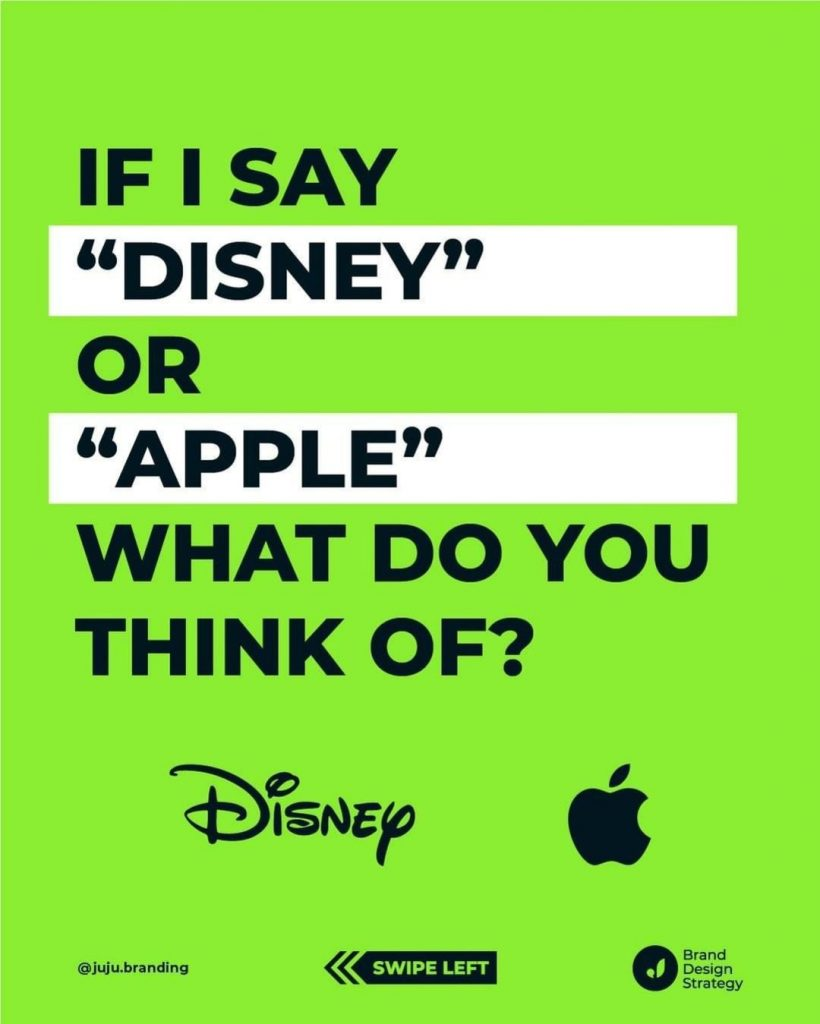 "If I say ""Disney"" or ""Apple"" What do you think of?"