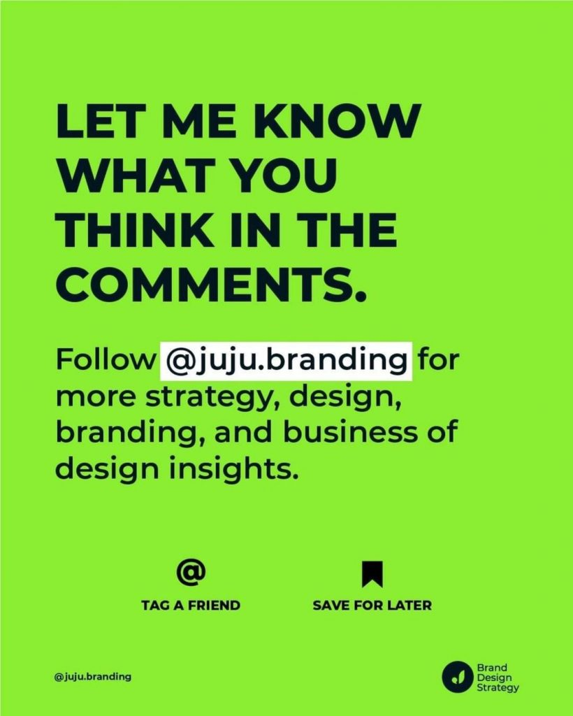 Let me know what you think in the comments.  Follow @juju.branding for more strategy, design, branding, and business of design insights.