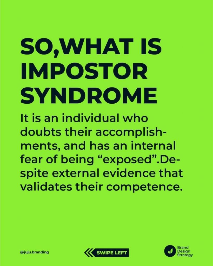 """So, what is impostor syndrome?  It is an individual who doubts their accomplishments, and has an internal fear of being """"exposed"""". Despite external evidence that validates their competence."""