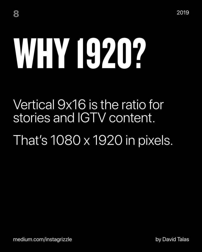 Why 1920?  Vertical 9x16 is the ratio for stories and IGTV content.  That's 1080x1920 in pixels.