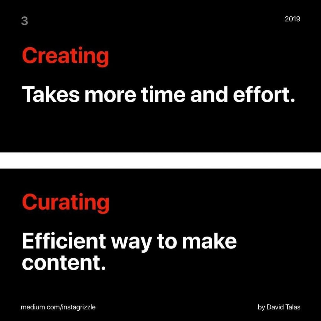 Creating  Takes more time and effort.  Curating Efficient way to make content.