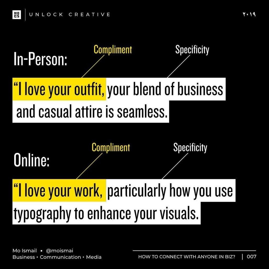 """In-Person: """"I love your outfit, your blend of business and casual attire is seamless."""" Online: """"I love your work, particularly how you use typography to enhance your visuals."""""""