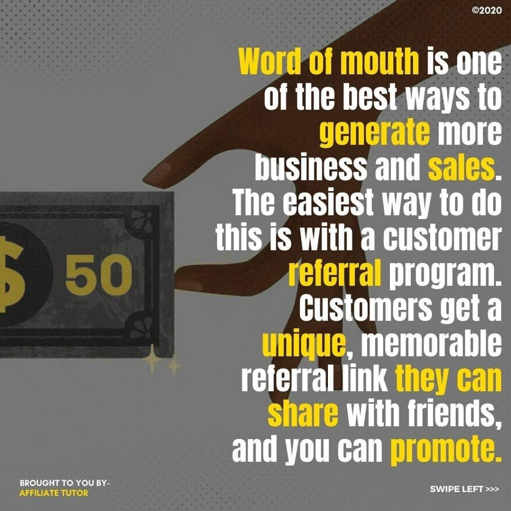 Word of mouth is one of the best ways to gengrate more business and sales. The easiest way to do this is with a customer deferral program. Customers get a unique, memorable referral link they can share with friends, and you can promote.