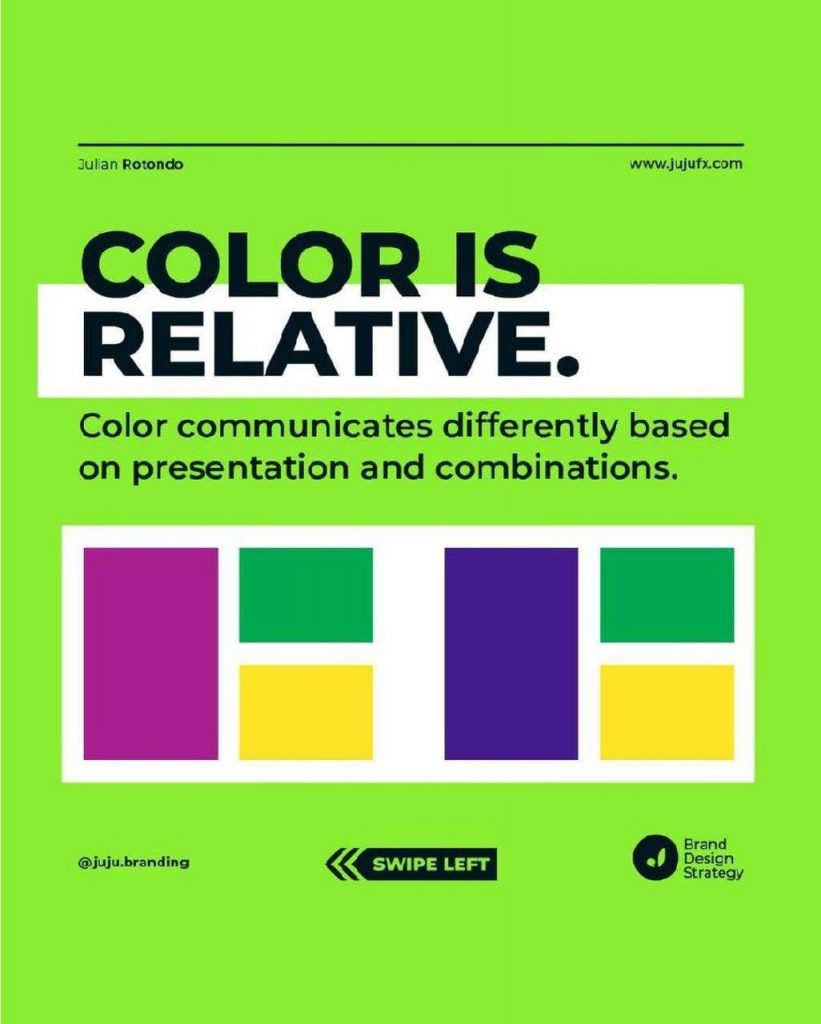 COLOR ls RELATIVE  Color communicates differently based on presentation and combinations