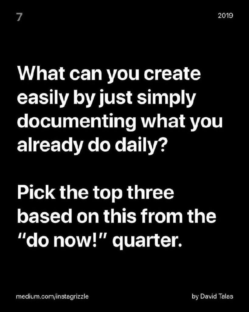 "What can you create easily by just simply documenting what you already do daily? Pick the top three based on this from the ""do now!"" quarter."