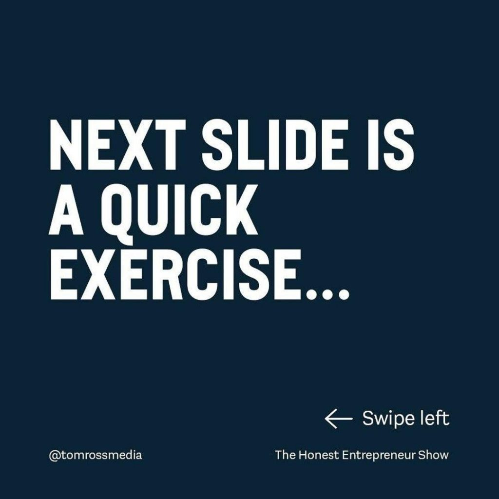Next slide is a quick exercise...