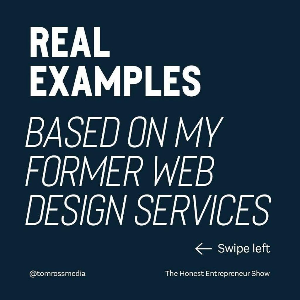 real examples  based on my former web design services