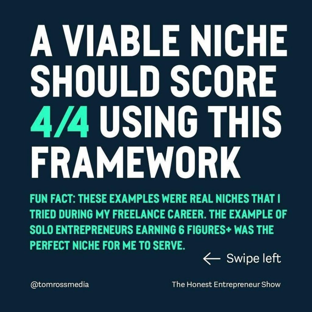 A VIABLE NICHE SHOULD SCORE 4/4 USING THIS FRAMEWORK  FUN FACT: THESE EXAMPLES WERE REAL NICHES THAT I TRIED DURING MY FREELANCE CAREER. THE EXAMPLE OF SOLO ENTREPRENEURS EARNING 6 FIGURES+ WAS THE PERFECT NICHE FOR ME TO SERVE.