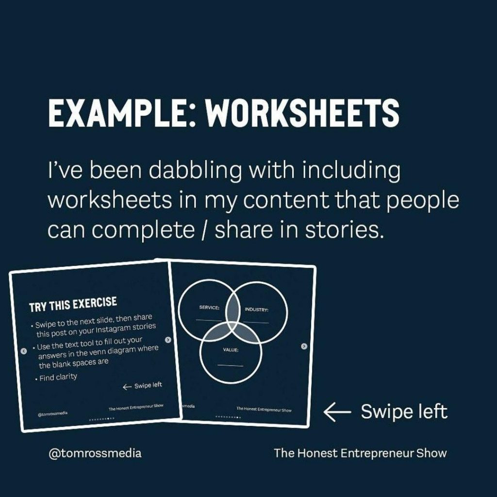 EXAMPLE: WORKSHEETS  I've been dabbling with including worksheets in my content that people can complete / share in stories.