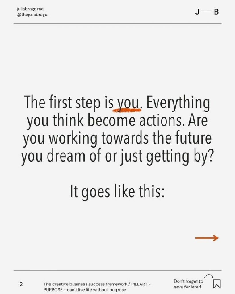 The first step is you. Everything you think become actions. Are you working towards the future you dream of or just getting by?  It goes like this: