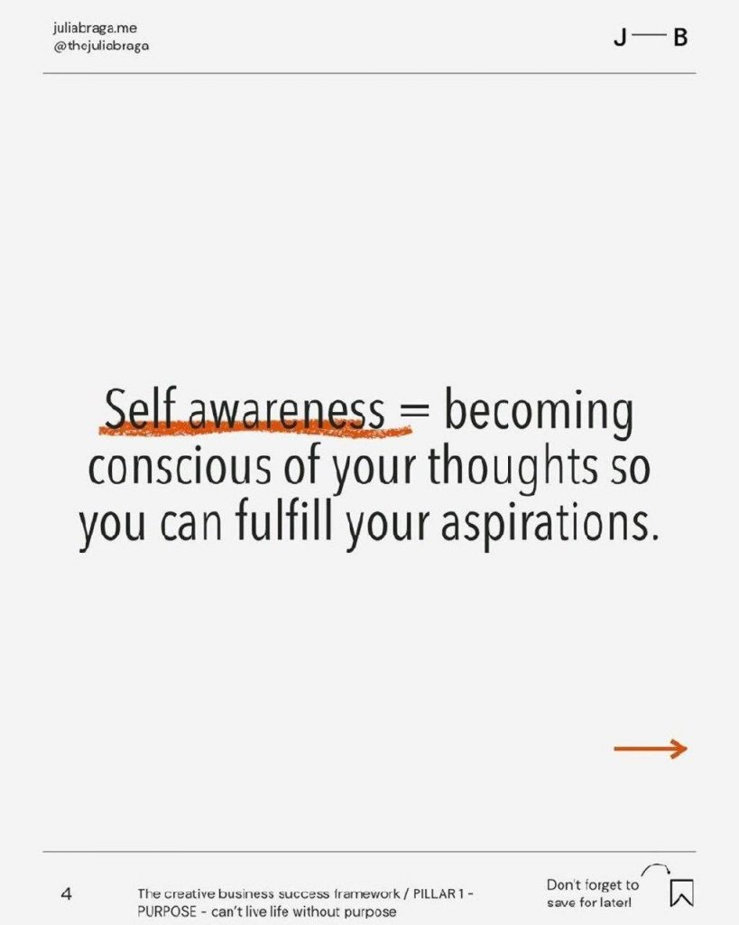 Self awareness =becoming conscious of your thoughts so you can fulfill your aspirations.