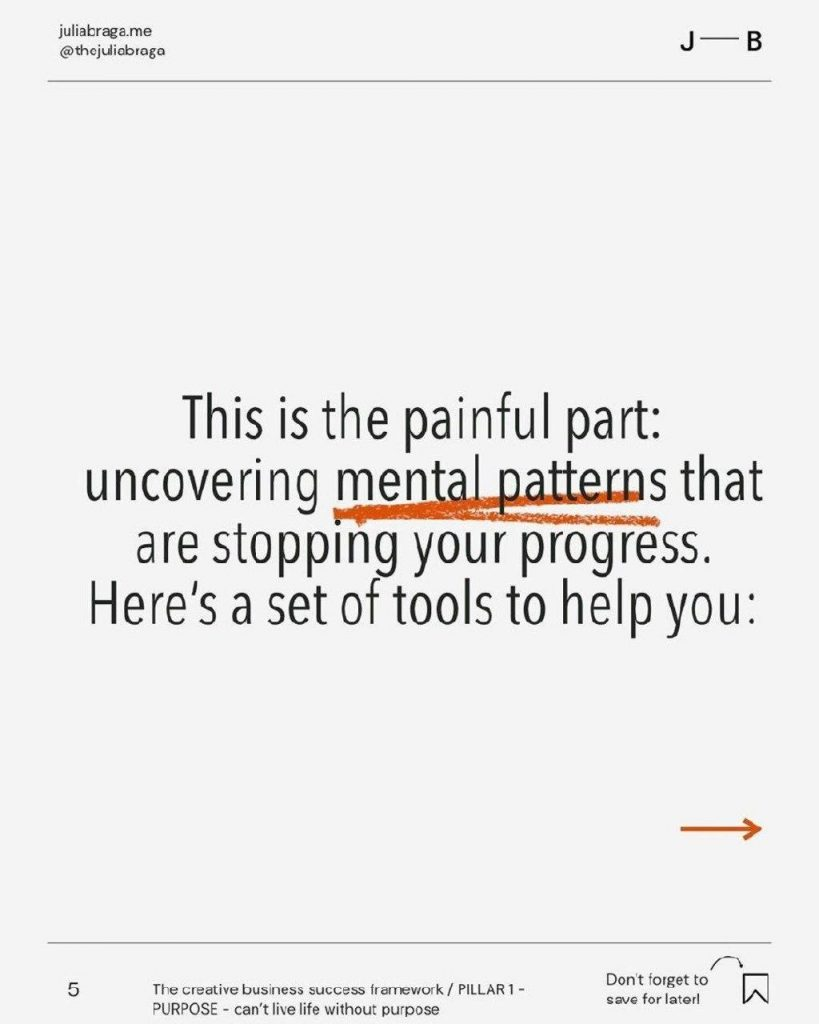 This is the paiful part: uncovering mental patterns that are stopplng your progress. Here's a set of tools to help you