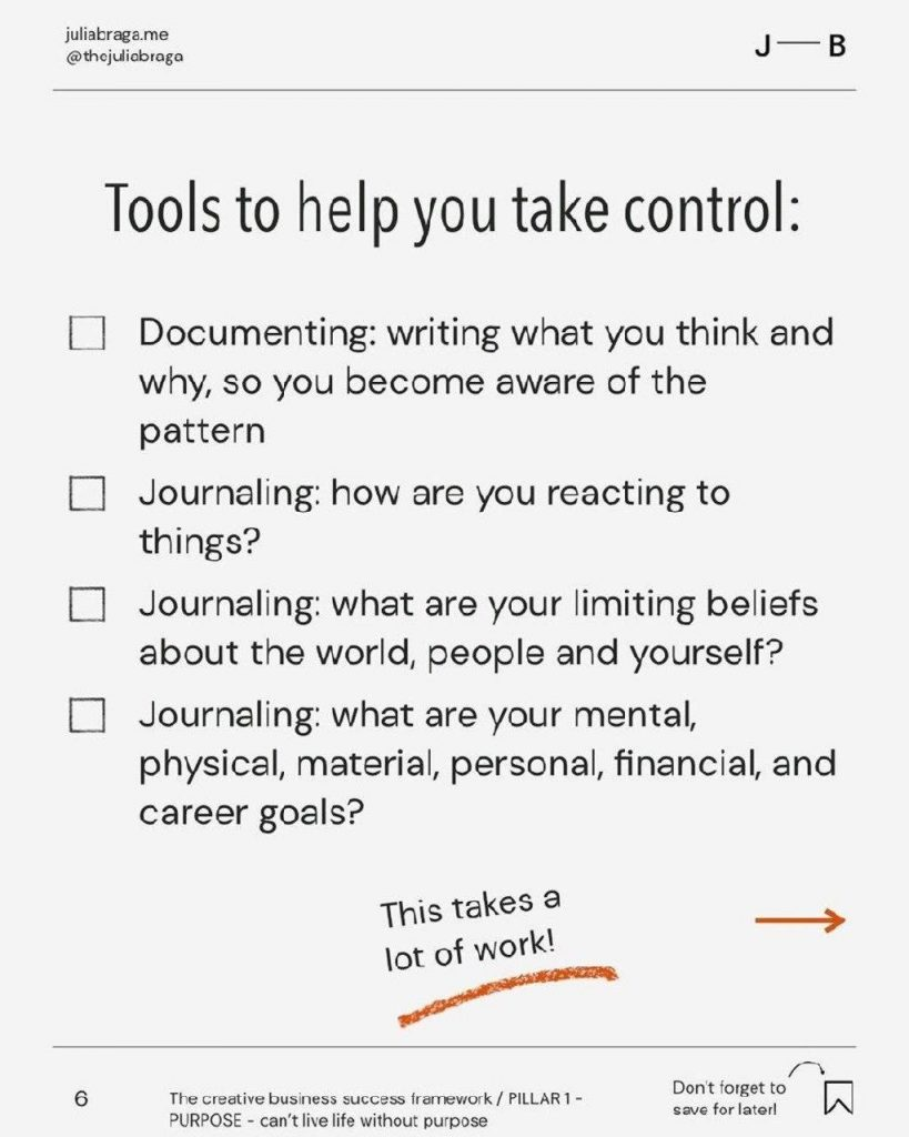 Tools to help you take control:  Documenting: writing what you think and why, so you become aware of the pattern  Journaling: how are you reacting to things?  Journaling: what are your limiting beliefs about the world, people and yourself?  Journaling: what are your mental, physical, material, personal, financial, and career goals?  This takes a lot of work!