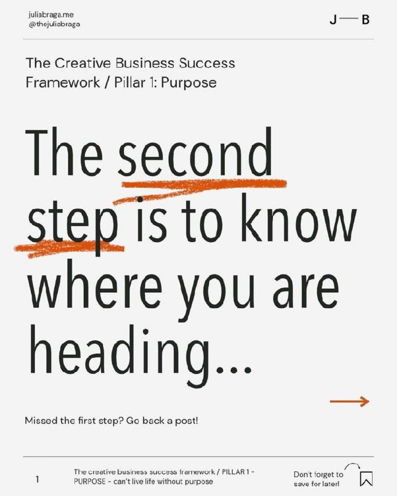 The second step is to know where you are heading…