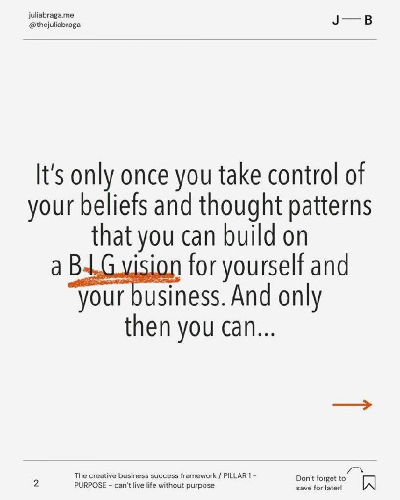 It's only once you take control of your beliefs and thought patterns that you can build on aBIG vision for yourself and your business. And only then you can...